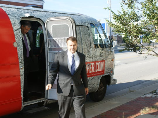David Pepper exits his bus for a rally in Port Clinton