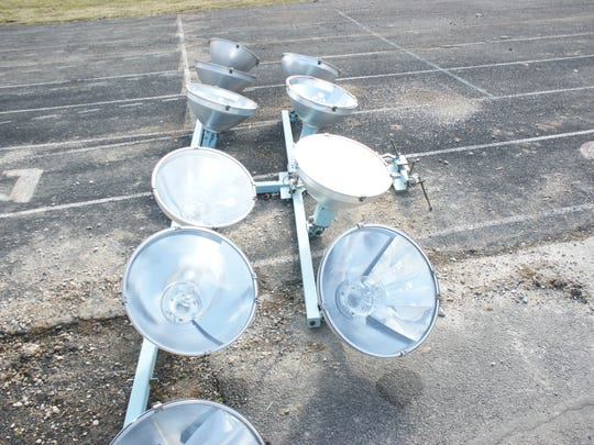 Light fixtures are one of a few pieces remaining from True-Lay Stadium.
