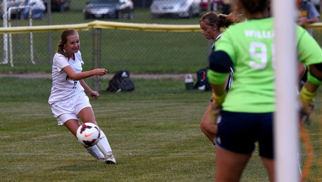 Watkins Memorial's Kayla Griffin takes a shot on goal during a scrimmage against Teays Valley earlier this month.