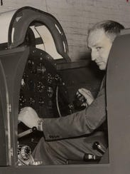 Edwin A. Link in his Link Instrument Flying trainer.