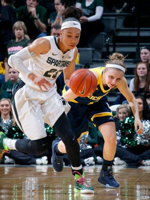 Michigan State's Aerial Powers, left, steals the ball from Michigan's Madison Ristovski during the second quarter of an NCAA college basketball game Wednesday, Feb. 3, 2016, in East Lansing, Mich. (AP Photo/Al Goldis)