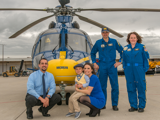 A C.S Mott Children's Hospital patient family get a chance to get up close and personal with U-M Life Flight
