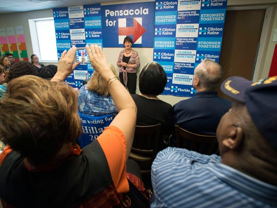 Anne Holton, the wife of democratic vice presidential nominee, Tim Kaine meets with supporters in Pensacola Monday afternoon. During her visit, Holton urged party volunteers to make a final push on behalf of Hillary Clinton/Kaine ticket.