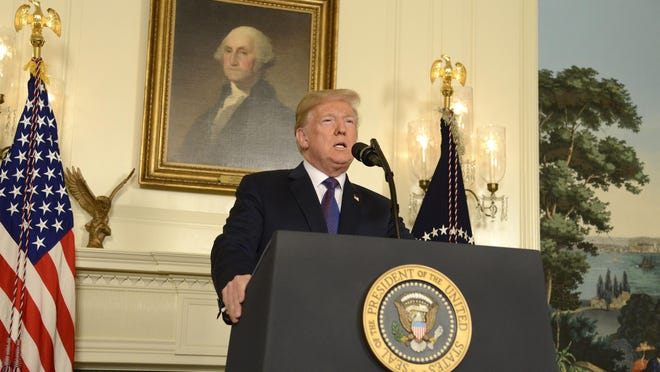 President Donald Trump makes remarks as he speaks to the nation, announcing military action against Syria for the recent apparent gas attack on its civilians, at the White House, on April 13, 2018, in Washington, DC.