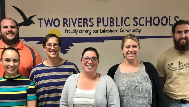 Two Rivers Public Schools welcomes eight new teachers in 2017-18. Pictured from left: Zac Krause (back), Nicole Gardner (front), Nicole DeBroux, Staci Smogoleski, Katie Wilsmann and Kristian Moen. Not pictured are James Mountain and Cheri Stewart.