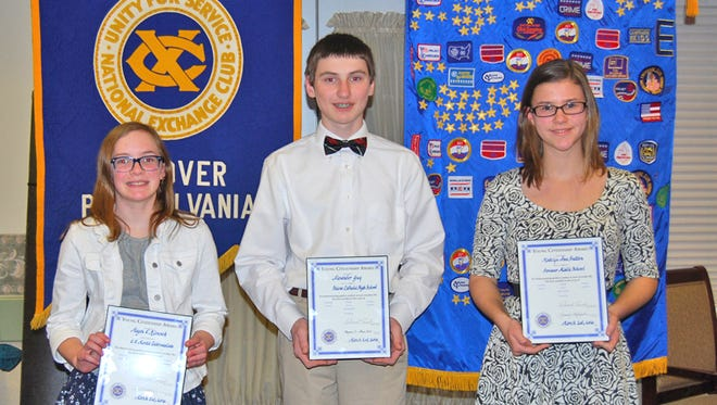 Pictured, from left, are: Megan Klansek, Alexander Guy, and Madelyn Ann Hutton.