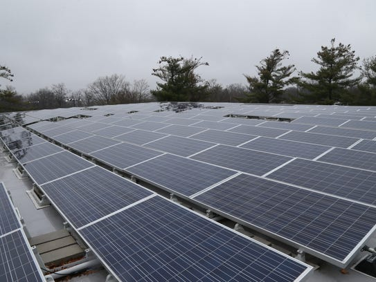 Solar panels on the roof of Elting Gym at SUNY New