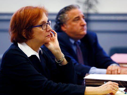 Attorney Susan Joseph, representing the parents and Edward D'Alessandro Jr representing a 20-year-old anorexic woman and her desire to stop eating. During the hearing in front of Judge Paul Armstrong, the young woman's parents wish to become her legal guardians to have her artificially fed. October 24, 2017. Morristown, New Jersey