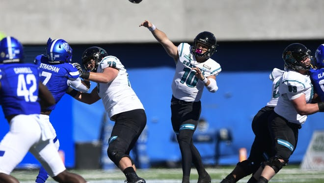Coastal Carolina quarterback Grayson McCall, who missed the game against Georgia Southern due to an upper body injury, is back for the Chanticleers. Here he passes against Georgia State on Oct. 31 in Atlanta. Coastal Carolina won 51-0.