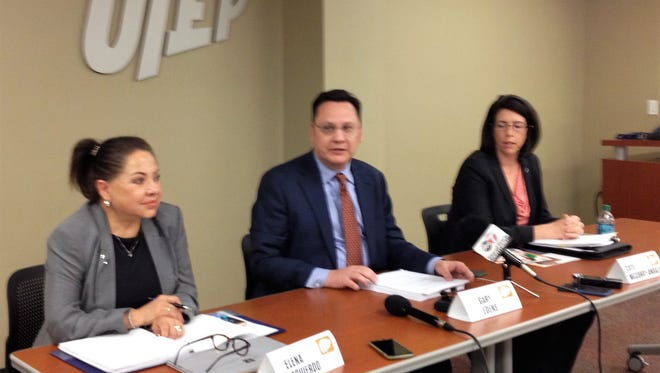 Gary Edens, University of Texas at El Paso vice president for student affairs, center, speaks at a Friday news conference about the results of a UT System survey on student sexual misconduct and assault.