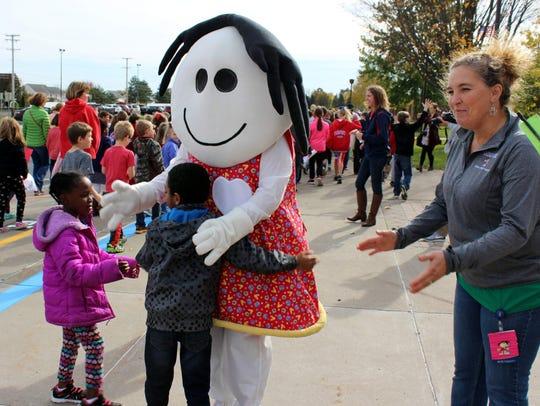 Golisano Children's Hospital's mascot Sandy Strong