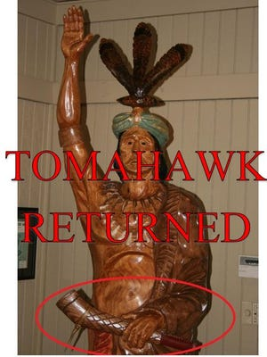 Kowaliga's tomahawk has been returned. A Maplesville teen is charged with theft in the case.