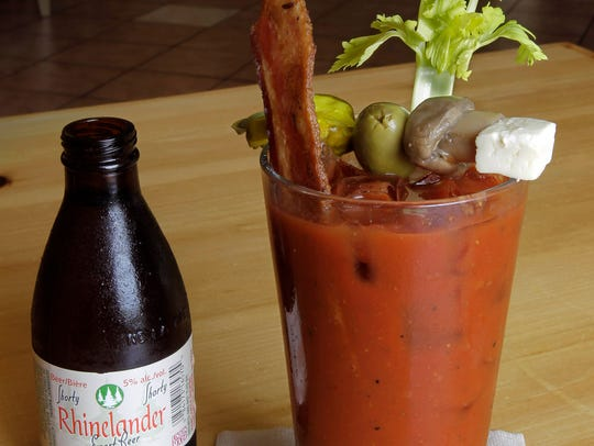 """In Franklin, Mimosa's """"loaded"""" bloody mary comes with a Rhinelander Shorty beer chaser."""