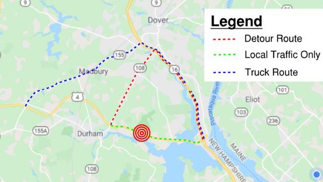 The New Hampshire Department of Transportation announced an upcoming five-day closure of Route 4 in Durham to facilitate the replacement of the Bunker Creek Bridge. Detours are planned.