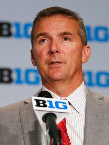Ohio State head coach Urban Meyer speaks during 2015