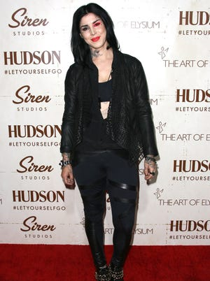 Tattoo artist Kat Von D attends The Art of Elysium's Genesis Gala on Sept. 20, 2013 in Los Angeles. Her 'Celebutard' shade of lipstick was pulled by Sephora after complaints that the name was offensive.