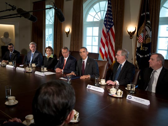President Obama is joined by congressional leaders