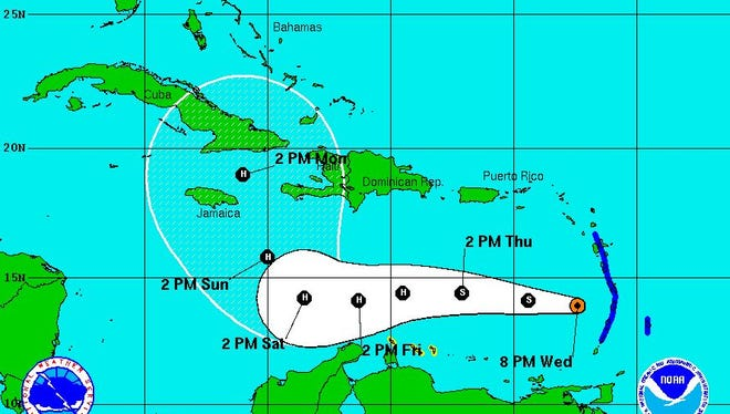 The projected path of Tropical Storm Matthew as of Wednesday at 5 p.m.
