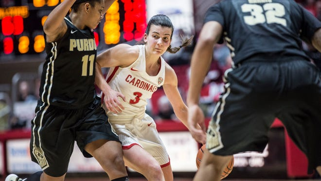 Ball State's Carmen Grande dribbles during a 77-72 loss to Purdue on March 18 in the Women's National Invitational Tournament at Worthen Arena.