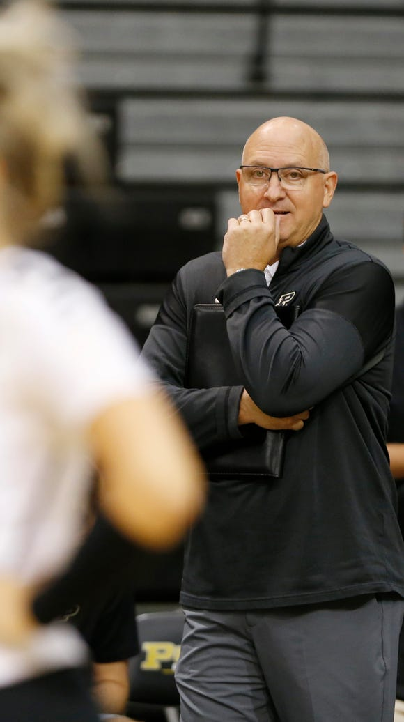 Purdue head coach Dave Shondell watches as the Boilermakers
