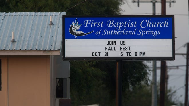 The First Baptist Church in Sutherland Springs the day after a shooting that left many dead, Nov. 6, 2017.