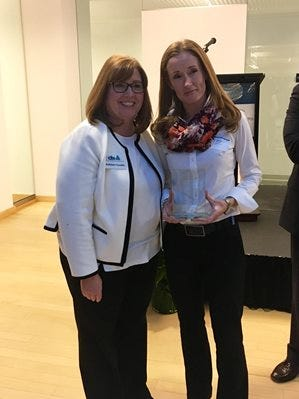 EDA Vice President, Technology and Life Sciences Kathleen Coviello with LugTrack Chief Financial Officer Denise Brouder