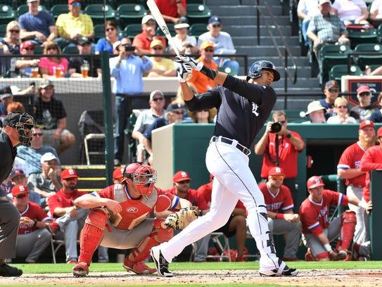 Steven Moya, a 6-foot-7 left-handed hitter, got brief
