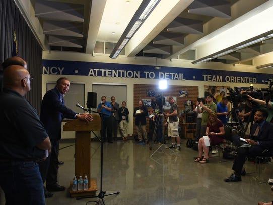 Ohio Gov. John Kasich speaks at a press conference,