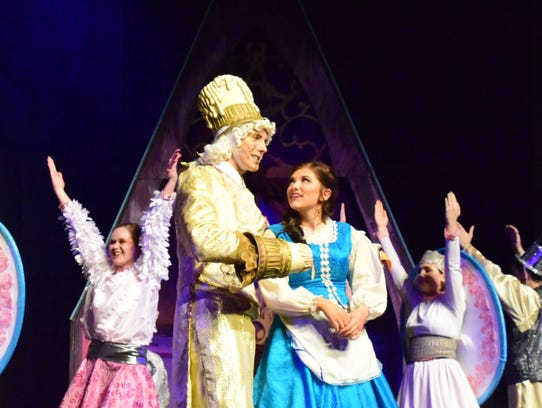 Lumiere (Wyatt Edwards) and Belle (Hanna Sloas) sing