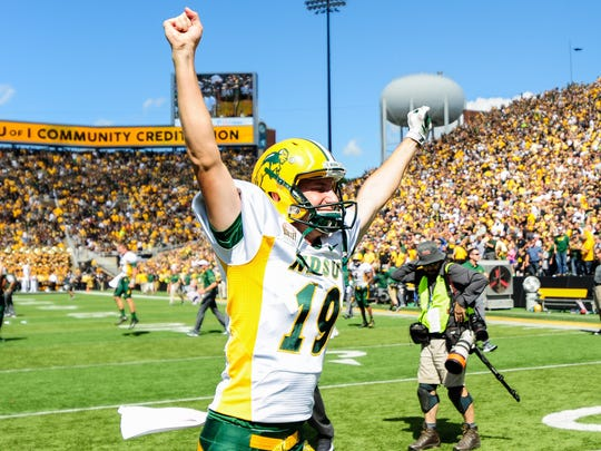 Jackson Koonce celebrates North Dakota State's victory over Iowa last month - the fifth consecutive victory over a Football Bowl Subdivision team for the Bison.