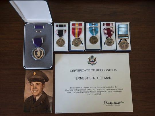 Prisoner of War Ernest (Leroy) Heilman medals: (L-R)