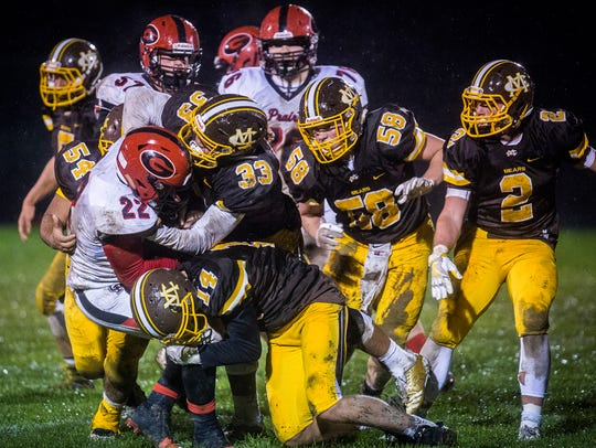 Monroe Central defeated Clinton Prairie at Monroe Central