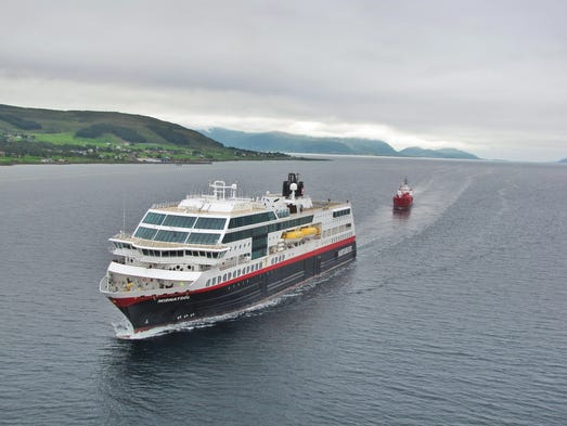 Named for the midnight sun, Hurtigruten's 638-berth, 16,000-ton MS Midnatsol carries cars, cargo and up to 1,000 passengers on a 1,330-mile journey along the Norwegian coast between Bergen in the southwest and Kirkenes, several hundred miles above the Arctic Circle near the Russian border.