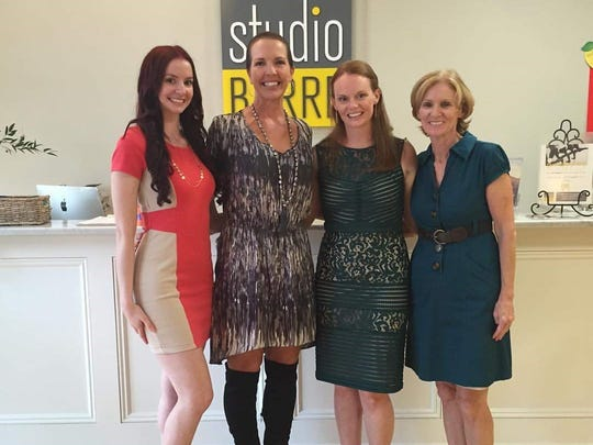 The dance-oriented exercise studio and apparel shop Studio Barre recently opened a location in Somerville. Chain founder Shannon Higgins is second from left with co-owners, from to right, sisters Courtney Goerge and Jennifer Hill and their mom, Robyn Goerge.