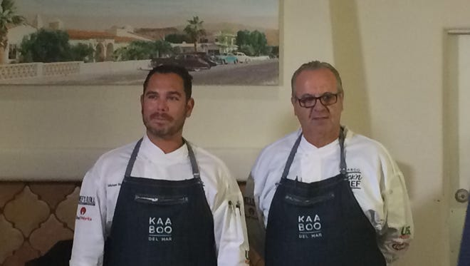 Culinary heavyweights Michael Beckman (L), owner/chef at Workshop Kitchen + Bar and Herve Glin (R), executive chef at Parker Palm Springs, competed Monday in the KAABOO Rock'n Chef Competition.
