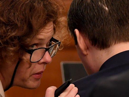 Jennifer Thompson, attorney for Zach Adams, speaks