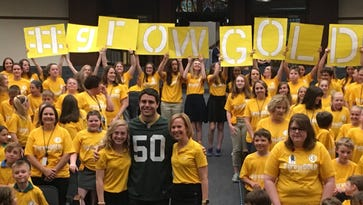 This Pewaukee school raised so much money for childhood cancer that Packer Blake Martinez stopped by to congratulate students
