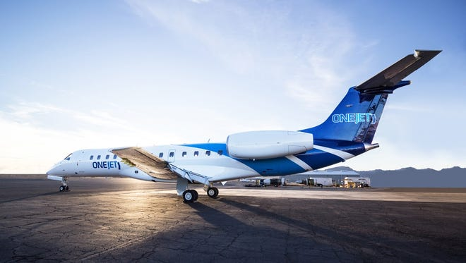This undated photo shows an Embraer ERJ135 regional jet in the colors of OneJet.