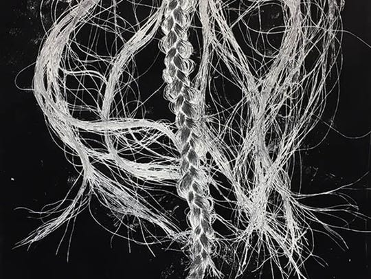 "Amber Gaul, ""Braid on Black,"" monoprint"