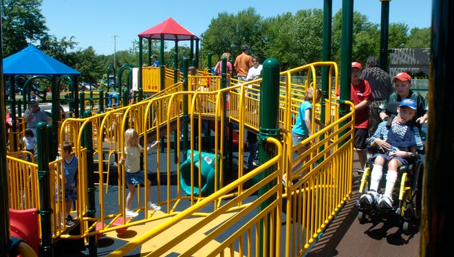 Children of all ages and abilities enjoy K.A.S.H Playground at Mead Park in Stevens Point.