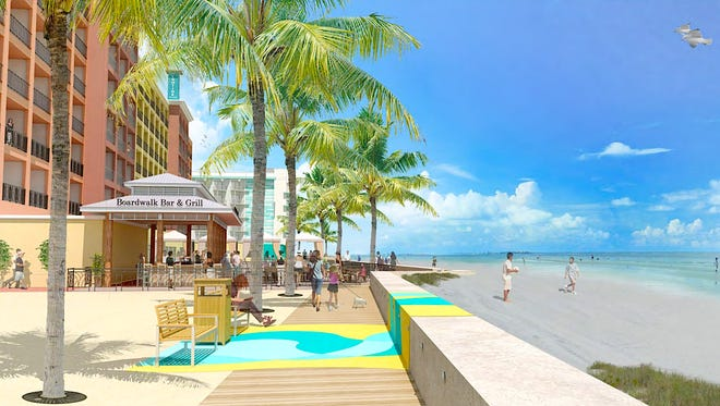 A concept rendering of the Grand Resorts FMB plan for Fort Myers Beach shows part of a sea wall and pedestrian board walk that extends a half-mile from the four hotels to Lynn Hall Memorial Park.