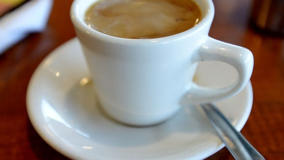 A cup of coffee from George's Grill.