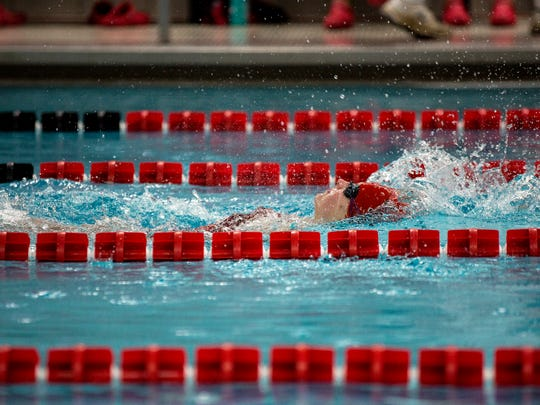 A SPASH swimmer competes in the during the Wisconsin Valley Conference dual meet championship between SPASH and Wausau East at SPASH in Stevens Point, Wis., on October 12, 2017.