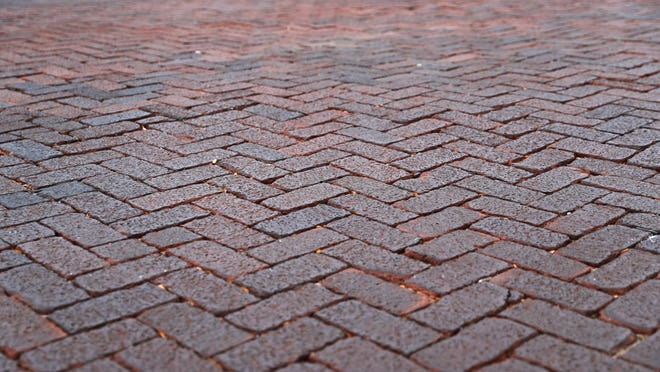 The red bricks paving the streets around downtown were designated a historical landmark.