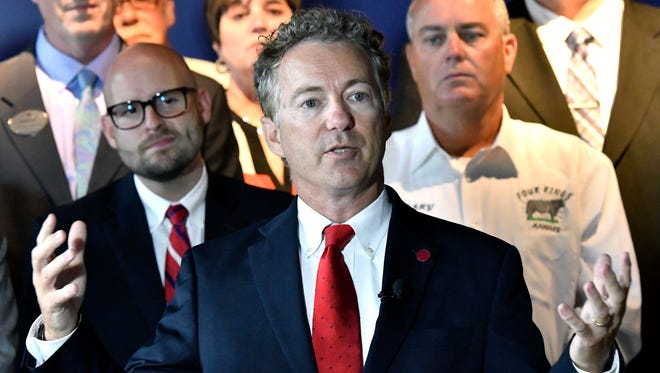 Sen. Rand Paul, R-Ky., speaks about health insurance at the River House Restaurant, Thursday, July 6, 2017, in Louisville, Ky. Paul has emerged as one of the biggest obstacles to passing the Republican answer to the Affordable Care Act, adding another wrinkle in his complex relationship with Senate Majority Leader Mitch McConnell, R-Ky. (AP Photo/Timothy D. Easley)