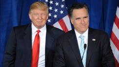Donald Trump and Mitt Romney in Las Vegas in 2012.