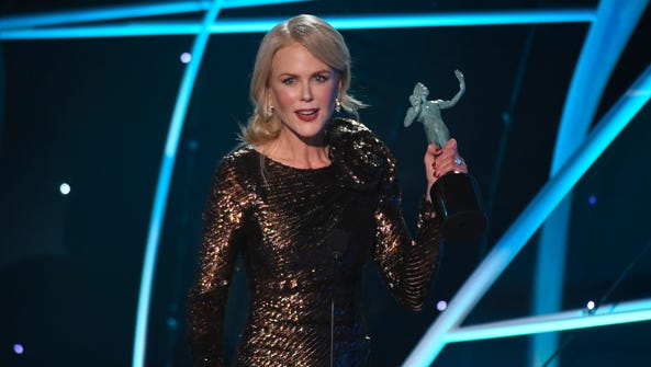 Nicole Kidman accepts the award for outstanding performance