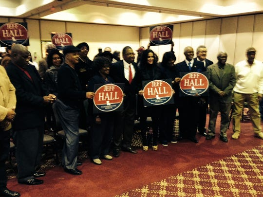 Supporters of Jeff Hall pose for a photo Monday after Hall announced his candidacy for the vacant House District 26 seat.