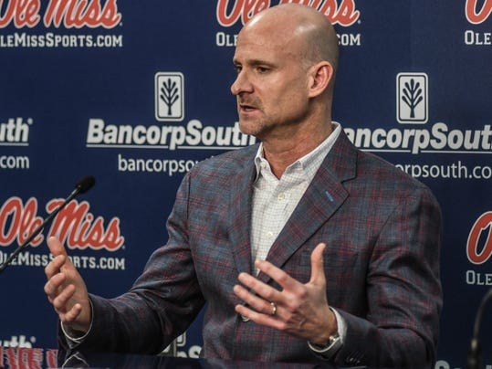 Mississippi head coach Andy Kennedy speaks at a press conference at the Pavilion at Ole Miss in Oxford, Miss. on Monday, Feb. 12, 2018. Kennedy, in his 12th season as Mississippi head coach, announced he would not return as coach following this season.(Bruce Newman, Oxford Eagle via AP)