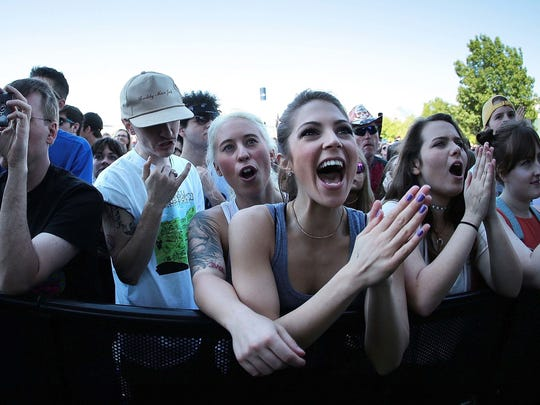 Fans cheer during the 41st Memphis in May Beale Street Music Festival at Tom Lee Park.